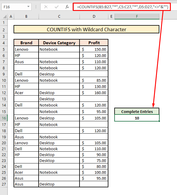 countifs to count across multiple columns with wildcard character