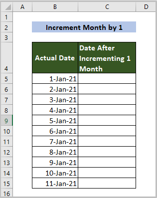 Dataset for incrementing 1-month