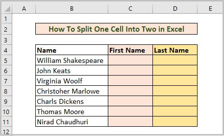 Dataset of how to split one cell into two in excel