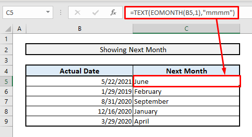 excel formula to find next month name