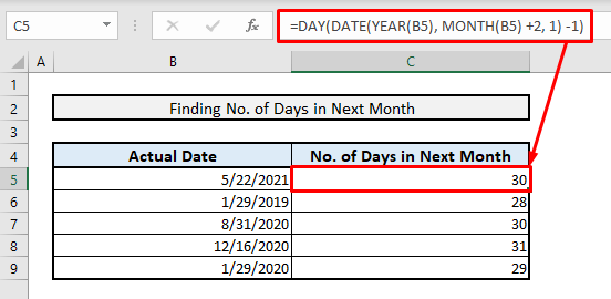excel formula to find number of days in next month