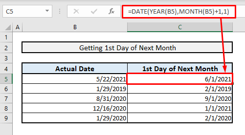 excel formula to get 1st date of next month