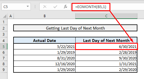 excel formula to get last date of next month