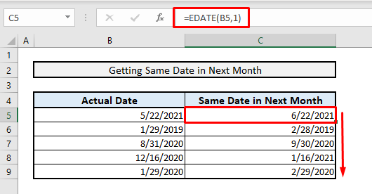 excel formula to get same date in next month