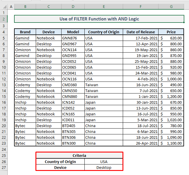 filter function multiple rows and logic criteria in excel