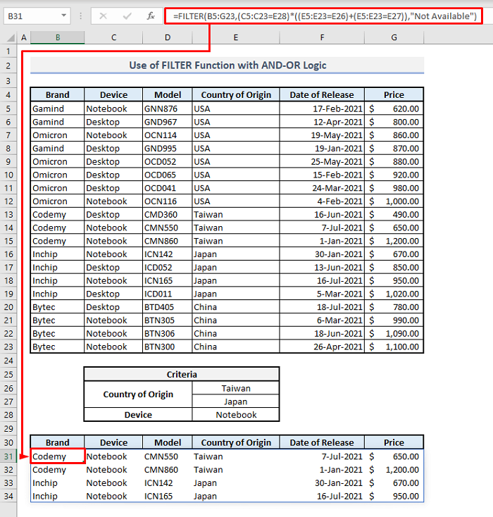 filter function multiple rows and or logic criteria in excel