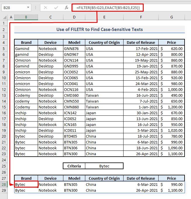 filter function multiple rows to find case sensitive text in excel