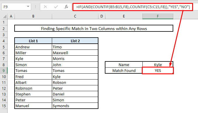 find duplicates in tow columns by using if countif