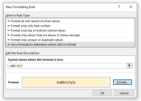 find duplicates in tow columns same row with conditional formatting