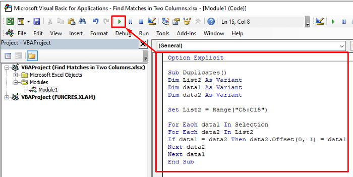 find duplicates in two columns with vba