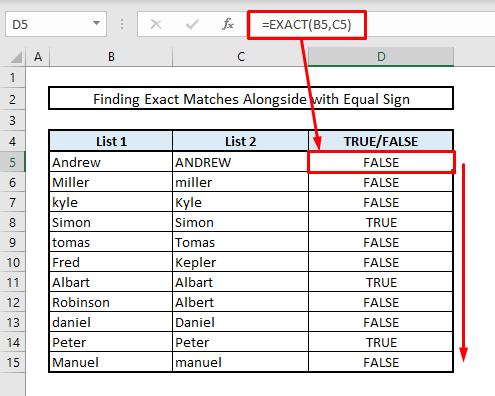 find exact duplicates in two columns same row with case sensitive