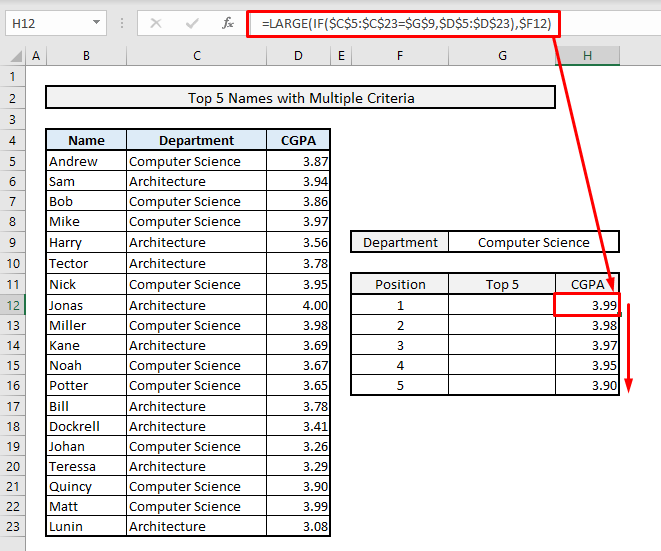 find top 5 values and names with multiple criteria