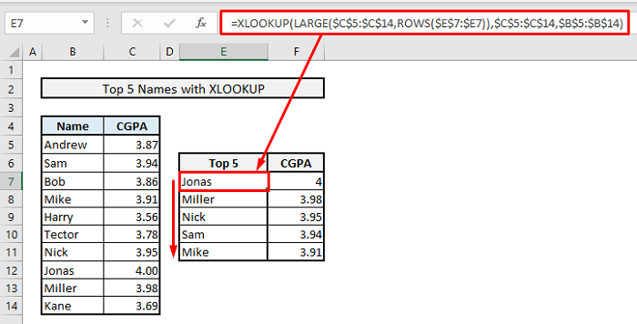 find top 5 values and names by xlookup