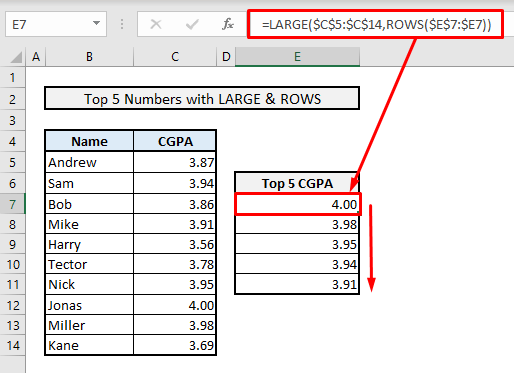 find top 5 values and names by large rows functions