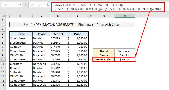 index match to find minimum value multiple criteria