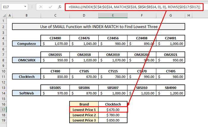 index match to find minimum 3 values