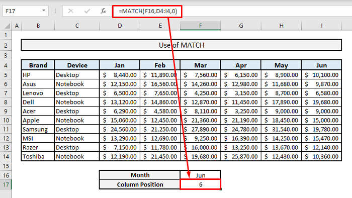 match introduction in excel