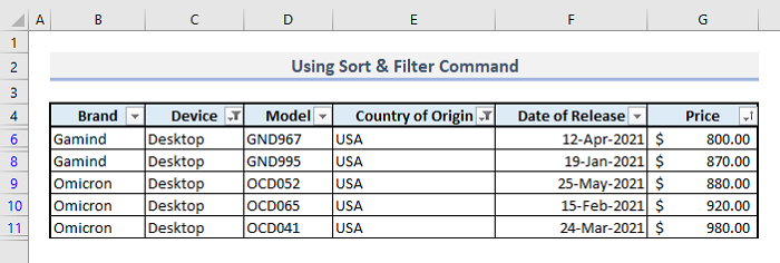 sort and filter command to sort multiple rows