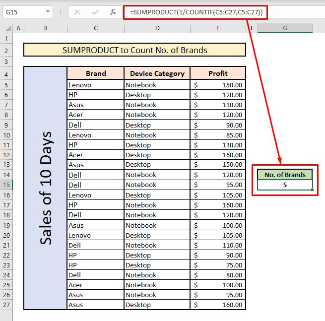 count unique values with sumproduct single crriteria