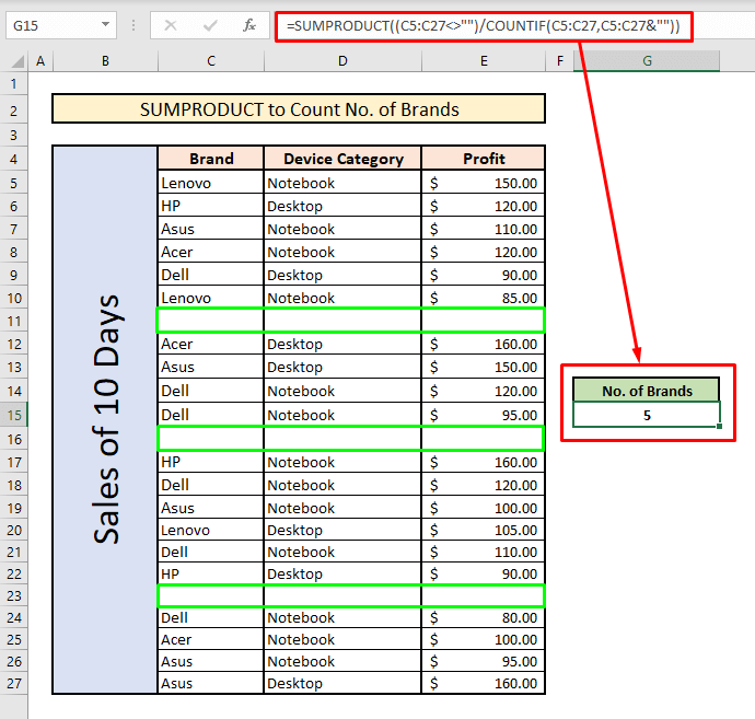 count unique values with sumproduct blank cell criteria