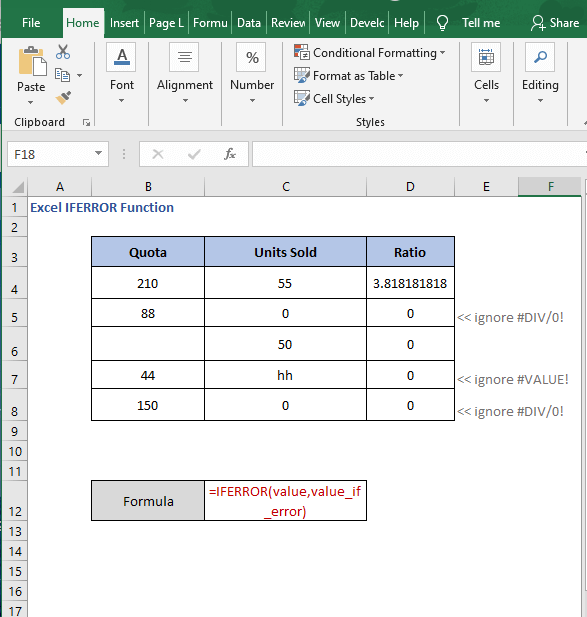 Sheet - Excel IFERROR Function