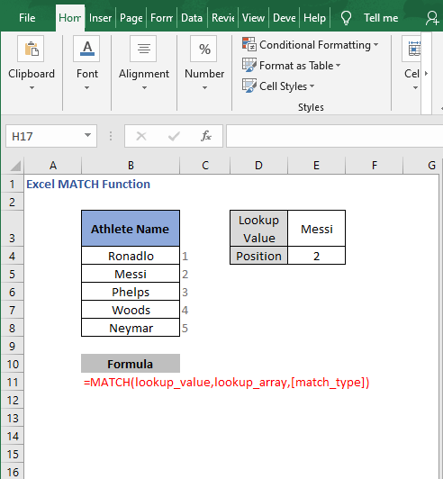 Overview MATCH function - Excel MATCH Function