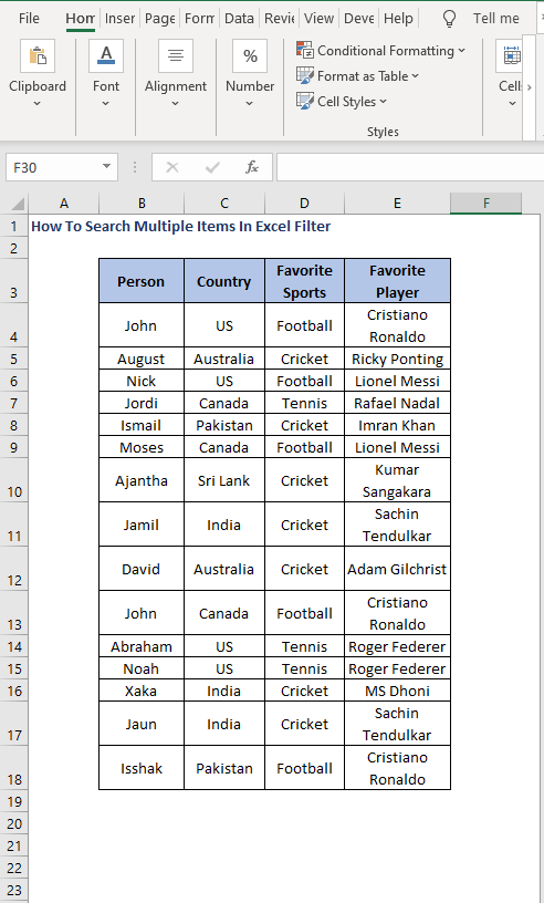 Dataset - How To Search Multiple Items In Excel Filter