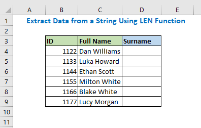 Extract Data from a String Using LEN Function