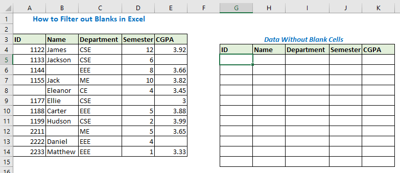 How to Filter out Blanks in Excel