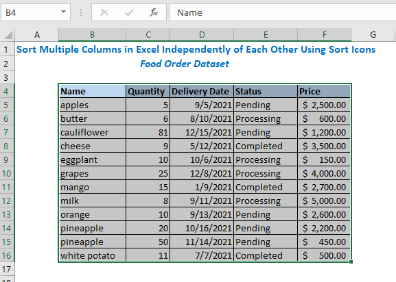 Output of sorted data