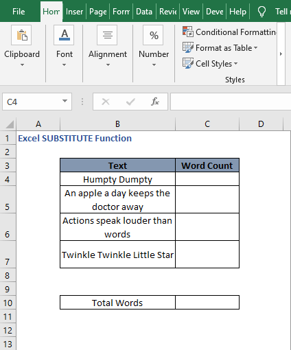Word count data - Excel SUBSTITUTE Function