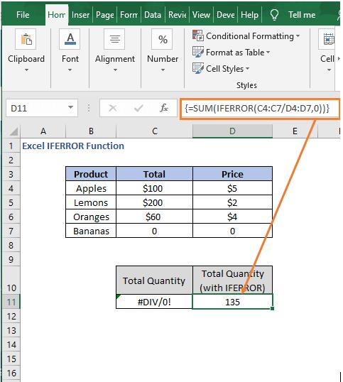 Array Formula with IFERROR - Excel IFERROR Function