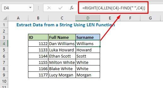 Enter formula using RIGHT LEN FIND function