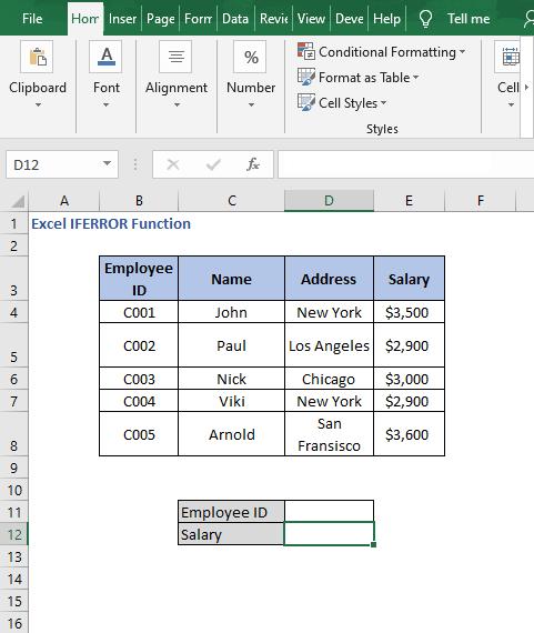 Lookup dataset - Excel IFERROR Function