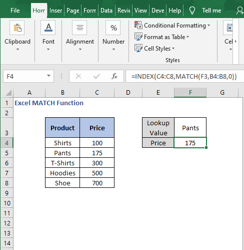 INDEX-MATCH 2- Excel MATCH Function