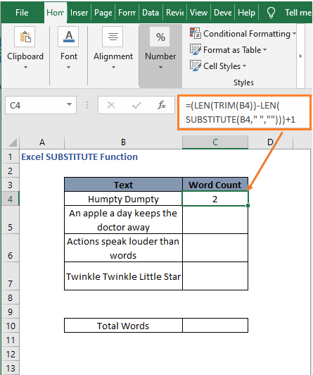 Word count formula result - Excel SUBSTITUTE Function