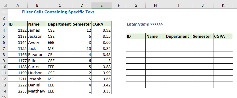 Filter Cells Containing Specific Text