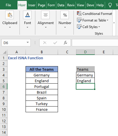 Complete the partial - Excel ISNA Function