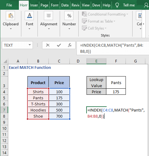 Direct input - Excel MATCH Function