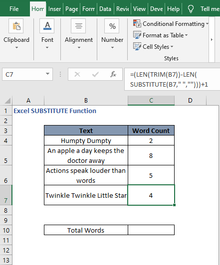Word count autofill - Excel SUBSTITUTE Function