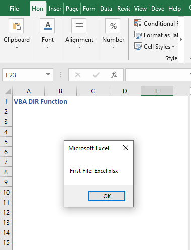 Code result to find first file - VBA DIR Function