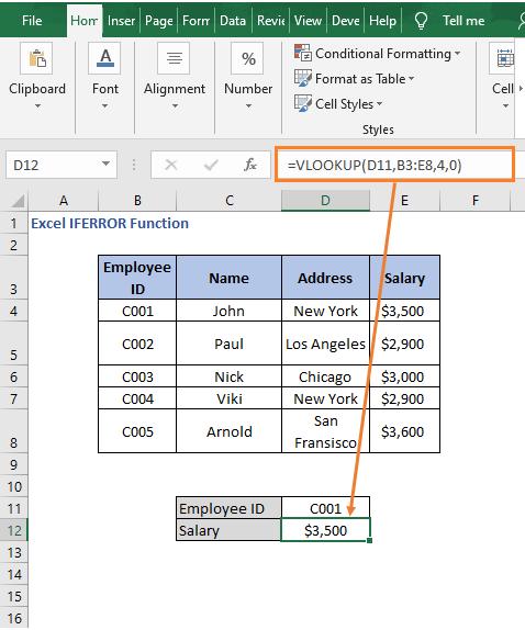 VLOOKUP - Excel IFERROR Function