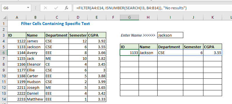 Enter formula using Filter ISNUMBER and search function