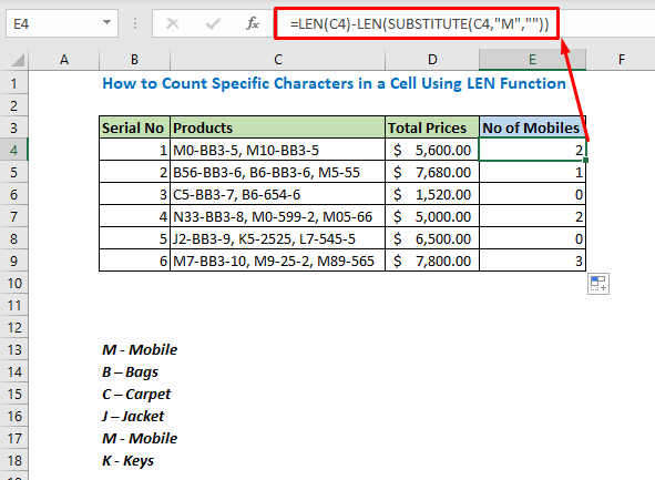 Enter formula using LEN and SUBSTITUTE function