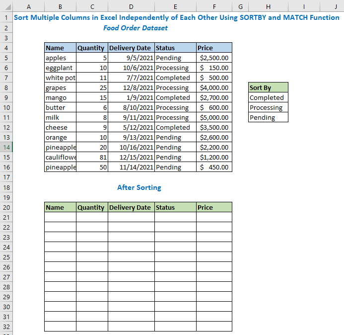 Sort Multiple Columns in Excel Independently of Each Other Using SORTBY and MATCH Function