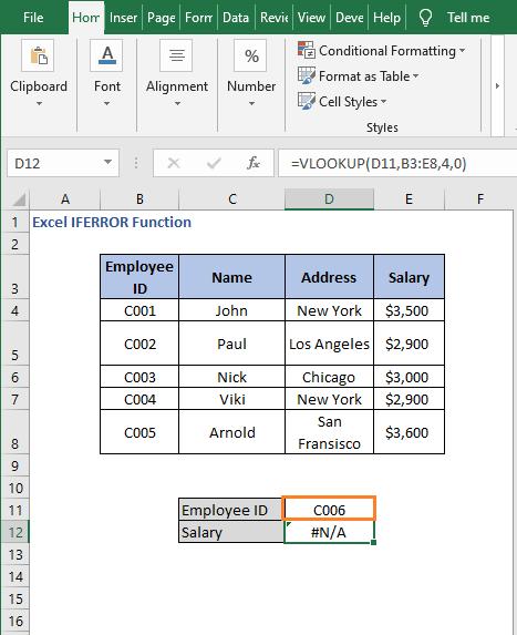 VLOOKUP error - Excel IFERROR Function