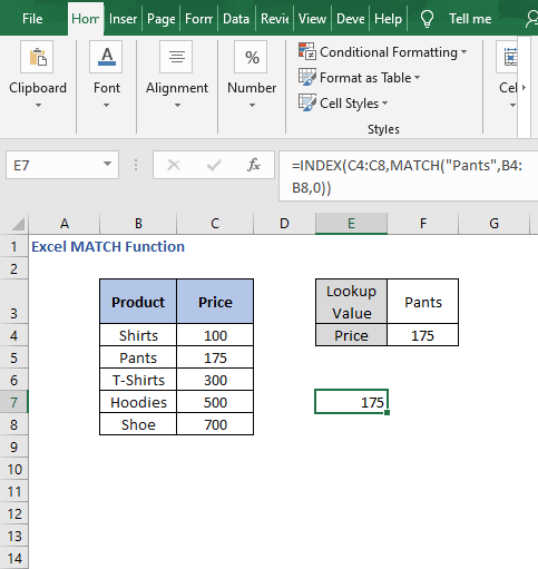 Result direct input - Excel MATCH Function