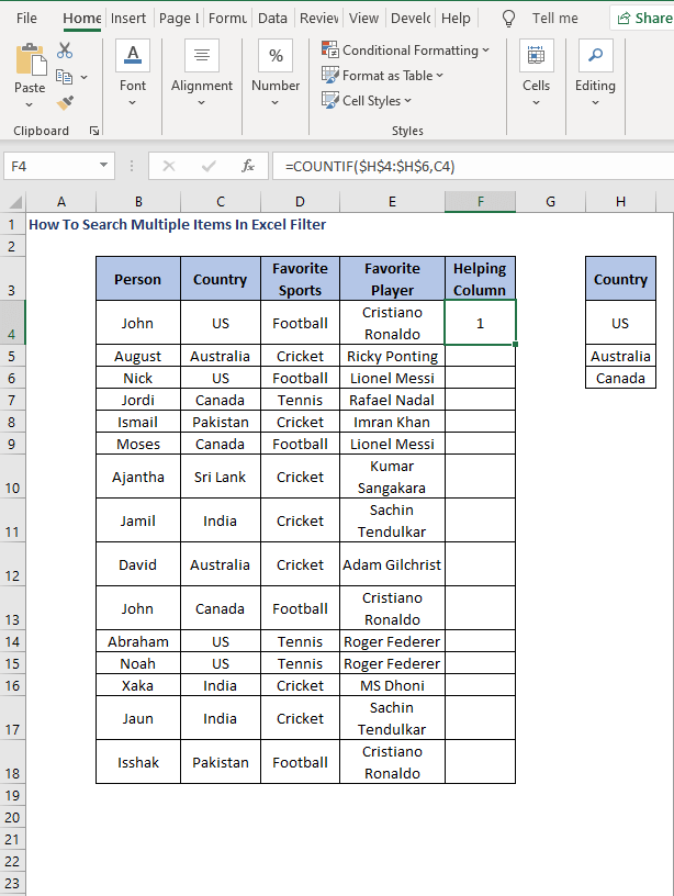 COUNTIF - How To Search Multiple Items In Excel Filter