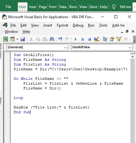 Code to find all files - VBA DIR Function