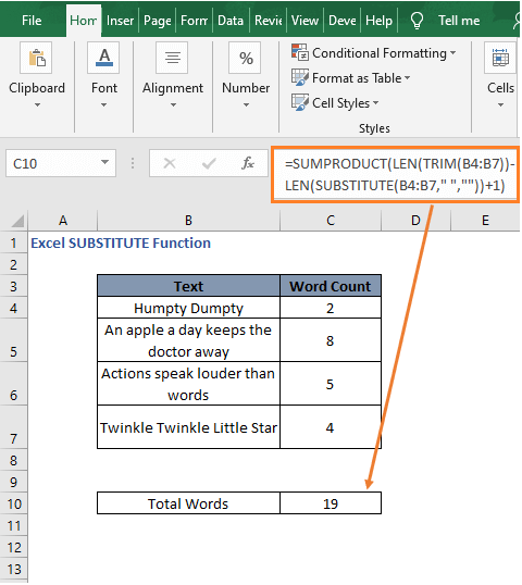 Total word count formula result - Excel SUBSTITUTE Function